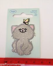 Grey Cat with butterfly on head Wrights Iron on applique 1967310001JA