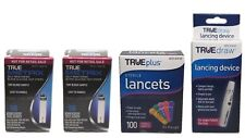 100 TrueMetrix Glucose Test Strips EXP 2019+and True Plus Lancets 33G and device