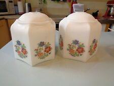 VINTAGE PAIR GLASS  LAMPSHADES ART DECO STYLE FLORAL PATTERN ON MILK WHITE