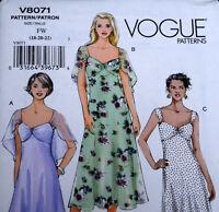 Uncut Vogue V8071 Sundress Sewing Pattern Sz 18 20 22 Dress Sheer Overlay