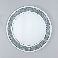LARGE SILVER MIRRORED GLASS CRUSHED DIAMOND GLITZ SPARKLE ROUND WALL MIRROR