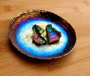 Iridescent Rainbow Dish, trinket, with healing Crystals! - unusual gift