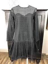 ASOS Womens 6 Black Lace Drop Waist Long Sleeve Shift Dress O