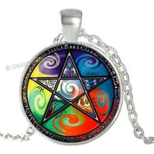 Elements Pentagram Pendant Silver Necklace Celtic Pentacle Earth Water Air Fire