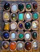 Real Gemstones Rune set of 25 runic alphabet: gems resin clay & guide chart