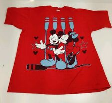Vtg Disney Mickey Minnie Mouse Kissing Oars Boating Red Jerry Leigh USA T-Shirt