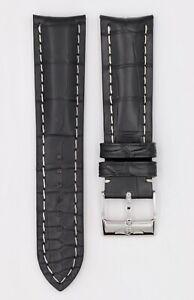 BREITLING CROCO BLACK STRAP CORREA LEATHER PIEL 22-20mm BUCKLE ORIG. 1018P NEW