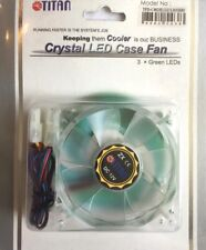 80MM PC CASE GREEN LED LIGHT UP COOLING FAN, FIXINGS & CABLES FOR PC MODDING ETC