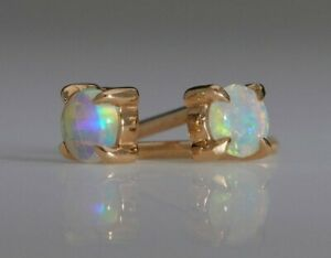 Beautiful Gold Filled Round White Fire Opal Stud Earrings 4mm Butterfly