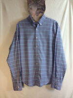 Twillory Men's Safe Cotton Tailored Fit Dress Shirt HD3 Blue Plaid Size 16 34/35