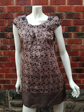 BNWT 100% silk shift dress MISS SHOP size12 pale pink black stars stripes RRP$99