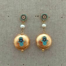 White Pearl Gold Plated CZ Hamsa Stud Earrings