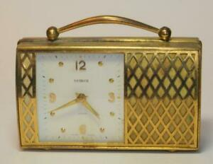 "VTG Semca ""Purse"" Swiss Made desk Musical alarm brass winding clock"