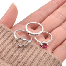 3Pcs Fashion Retro Bohemian Ruby Love Heart Shape Ring Jewelry Womens Gift B
