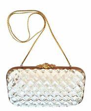 Judith Leiber Gold Evening Bag Clutch MINAUDIÈRE Lucite Diamond Cut Vintage