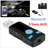 3in1 Car/Home USB Bluetooth Receiver Adapter 3.5mm AUX Stereo Audio Speakers MP3