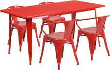 31.5'' x 63'' Rectangular Red Metal Indoor-Outdoor Table Set with 4 Arm Chair.