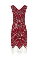 1920s Art Deco Vtg Sequin Flapper Downton Great Gatsby Charleston Dress New 8-24