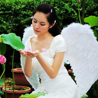 Adults Kids White Feather Wings Angel Fairy Fancy Costume Dress Halloween HOT.
