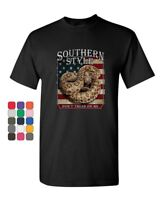 Southern Style Rattlesnake T-Shirt Don't Tread on Me Gadsden USA Mens Tee Shirt