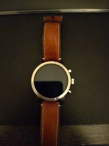 Fossil Q Explorist Gen 3 45mm Blue and Brown Leather Smart Watch - FTW4004