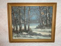 1950 Victor Shearer Original Oil on Canvas Painting of a Moonlit Winters Night