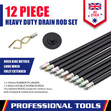 10-Piece Drain Clean Rod Set Flexible Plunger Connector DIY Universal Cleaning