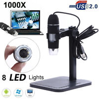 1000X 8LED USB Zoom Digital Microscope Hand Held Biological Endoscope+Lift Stand