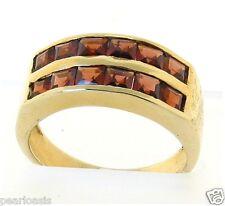 Genuine Garnet Ring, 14K Yellow Gold; 3.9 Grams, Size 6.75, NEW