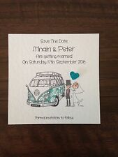 10 x Handmade Bride and Groom Square Save The Date Magnets - Camper Van