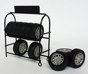 American Diorama 1/24 Scale Metal Mechanics Shop Tyre Rack model Car display