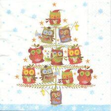 2 Serviettes en papier Arbre de Noël Hibou Paper Napkins christmas Owl Tree