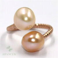11-12mm Natural Pink Baroque Pearl ring Adjustable 18k Luxury Mesmerizing