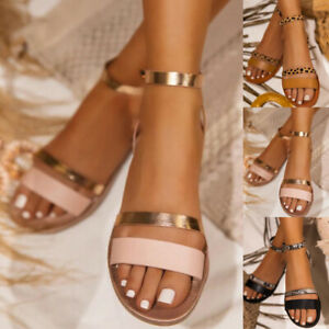 Women's Ankle Strap Sandals Ankle Strap Buckle Flats Summer Beach Open Toe Shoes