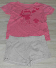 313 - Pyjama short + t-shirt 4 ans gris et rose NKY