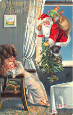 Red Suited Santa Claus Christmas Tree Toy Bag Sleeping Girl 1907 Postcard