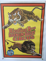 Vintage Ringling Bros Barnum Bailey Circus Poster Lion Tiger Greatest Show Lion