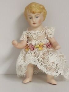 Handmade Handpainted Bisque Baby Doll,3 Inches, Jointed with Handmade Clothes