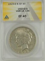 "1923-D $1 Peace Silver Dollar ANACS XF40 #6109797 VAM-1A LDS ""DIE GOUGE THRU S"""