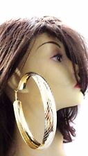 LARGE TEXTURED HOOP EARRINGS 4 INCH GOLD OR SILVER TONE HOOP EARRINGS LINED