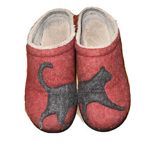 LL Bean Cat Daybreak Scruffs Wool Red Gray Anti Slip Rubber Slippers Womens 10