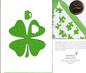 Papyrus Puzzle 4 Leaf Clover Shamrock St Patricks Day Greeting Card