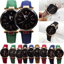 Ladies Women Leather Band Stainless Steel Analog Quartz Classic Wrist Watch