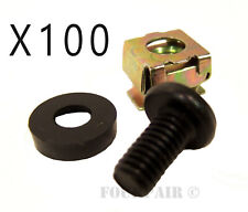100 Pack Lot - M6 Rack Mount Cage Nuts, Screws, & Washers - Square Clips Server