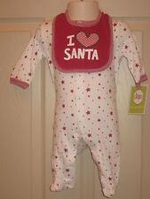 Circo Holiday Christmas I Love Santa 2 Pc Outfit Sleeper + Bib Newborn NB NWT