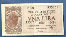 BANCONOTA Lire 1 LUOGOTENENZA ITALIA LAUREATA 1944 QUASI FIOR DI STAMPA