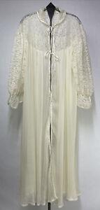 Vtg Barbizon Peignoir Dressing Gown Robe Accordion Nylon Lace Sleeves Ivory Sz S
