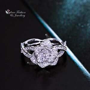 18K White Gold Filled Simulated Diamond Braided Band Sliver Rose Flower Ring