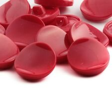 Czech Vintage red concave dipped glass buttons. Lot (12) 23mm