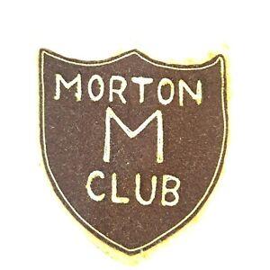 "Vintage 1960s Morton Club Wool Patch Letterman Jacket Accessory Shield 4"" x 4.5"